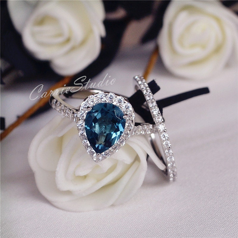 79mm natural london blue topaz ring set engagement ring set for Blue topaz wedding ring sets