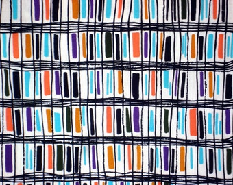 Multi Color Bars in Black Color Check Freehand Lines-Vintage Printed Cotton-Craft supply-Garment Material-Multi Purpose Supply-DIY-1Y80Cm