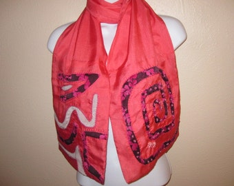 Peach Soft Silk Scarf with Black and Pink Floral Accents, Exotic Original Design with Pink and Silver Glass Beads