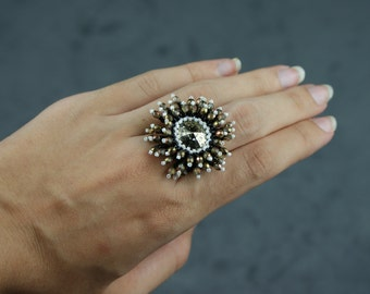 Ring set with cabochon of miyuki delicas