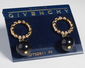 Vintage New With Tags Givenchy Braided Goldtone Round Hoop Drop Dangle Earrings with a Single Black Bead. The Earrings are Pierced.