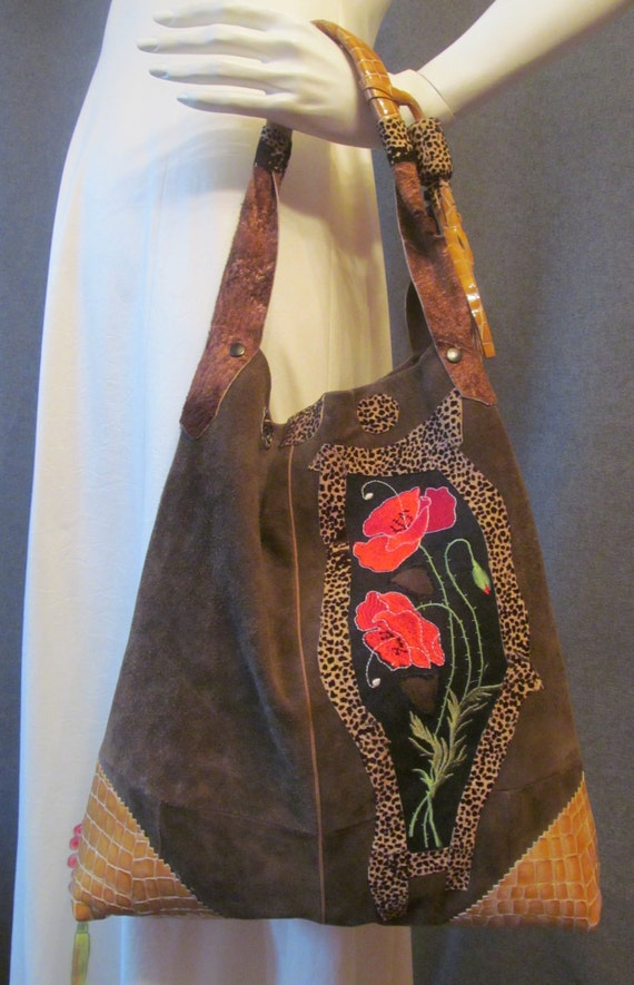 Suede bag with embroidery - red poppy, Handbag, bohemian bag, gypsy bag, colours; khaki, red, black. ready to ship.