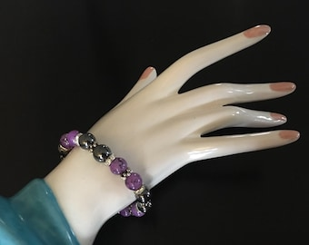 Purple and snokey gray stretch bracelet