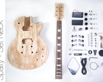 Do It Yourself DIY Electric Guitar Kit LP Spalted Maple Style Buld Your Own