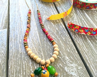 Long wooden necklace/wooden necklace with pendant  /colorful wooden necklace /tribal necklace