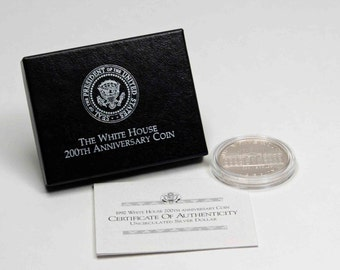 1992 White House 200th Anniversary U.S. Commemorative Coin, United States Uncirculated Silver Dollar