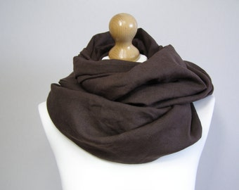 infinity scarf,linen infinity scarf,brown scarf, flax infinity scarf,scarf for woman, flax scarf,brown linen scarf,