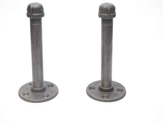 6 5 long industrial modern pipe shelf brackets. Black Bedroom Furniture Sets. Home Design Ideas