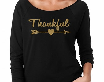 Thankful Gold Arrow Womens Long Sleeve Off the Shoulder Tee T Shirt Top
