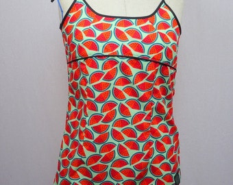 Halter tank top with lacing back ground Indian-Zebra-watermelon