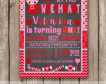 Valentine birthday invitation, Valentines invitation, Sweetheart Invitation, chalkboard birthday invitation