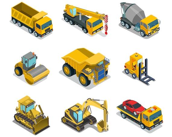 SALE Construction Vehicles Dump Truck Clipart PNG Digital