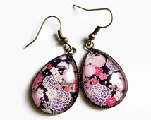 Earrings drops * Japanese flowers - Japanese fabric tissu * blue pink Japan, cabochon glass