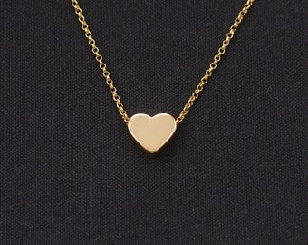 tiny gold heart necklace, gold filled, bridesmaid gift, mother's day gift, love necklace, minimalist necklace, layering necklace, birthday