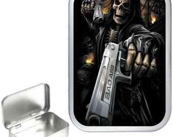 Bad Ass 1oz silver hinged tobacco tin,pill box,storage tin