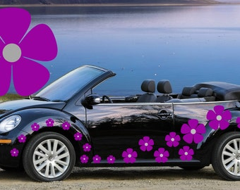 32,purple & silver pansy flowers car decals,stickers in three sizes