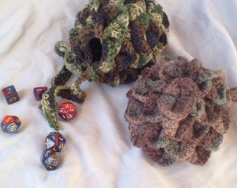Dragonscale dice bag, tabletop rpg, geek gifts, custom geek, custom dice bag, gifts for geeks, gifts for nerds, crocheted bags, d20, dice
