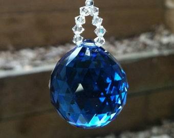 Sapphire crystal, blue suncatcher,  anniversary gift, housewarming gift, crystal suncatcher, hanging crystal, light catcher, rainbow maker