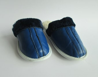 Women leather slippers, handmade slippers, blue leather