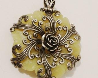 Sterling Filigree on a Large Huge heavy Carved Jade Flower Pendant.