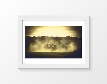 """And I run from you / Tree silhouette smoke field sepia photo printable downloadable wall art home decor to print yourself / A3 and 11""""x17"""""""