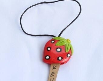 Key Cover, key case, key holding, strawberry clay, clay key cover
