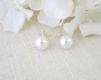 Simple pearl post earring, Swarovski 8mm pearl bridal earring, Pearl wedding earring, Bridesmaid earring