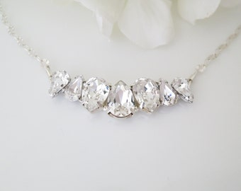 Wedding Necklace, Swarovski rhinestone necklace, Simple crystal necklace, Teardrop bridal necklace