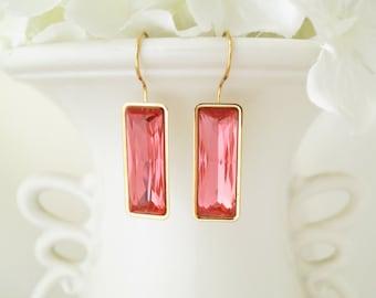 Modern coral baguette earring, Swarovski crystal earring, Gold baguette earring