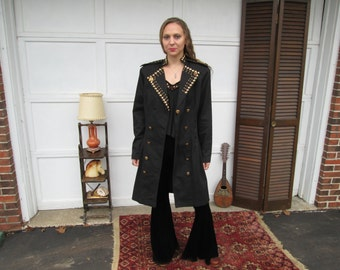 Rare Rhythm Nation Janet Jackson Vintage 1980s 1990s Black Gold Studded Dress Jacket