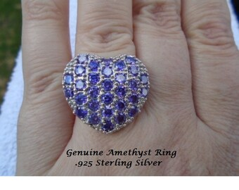 Your Choice of 1 Genuine Gemstone Heart Shaped Ring Size 7.5
