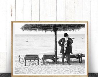 Beach Photography, African Women, Black and White Photo, Home Decor, Wall Art, African art print, Art Print, Africa photos, printing Photo