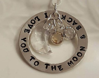 I Love You to the Moon & Back~ hand stamped Sterling Silver and Swarovski Necklace