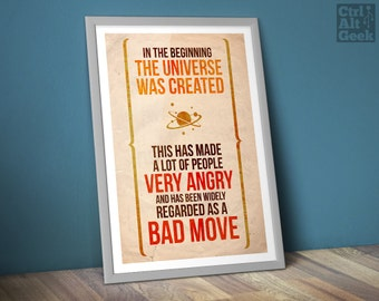 """Hitchhiker's Guide [DL] // A Bad Move, Douglas Adams, HHGTTG, Quoteable, Stephen Fry, Mostly Harmless, A2 & 18x24"""", Download Copy"""
