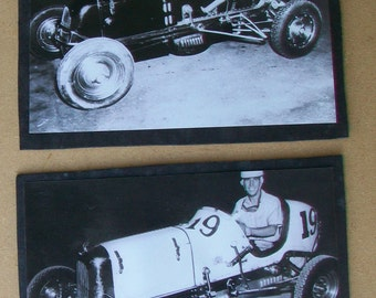 2 Vintage 1950's Original Photos of Race Cars