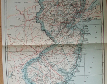"""Vintage 1927 Map of New Jersey - 9"""" x 11"""""""