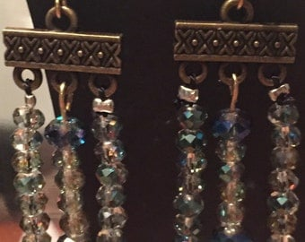 Chinese crystal and antique gold dangle earrings
