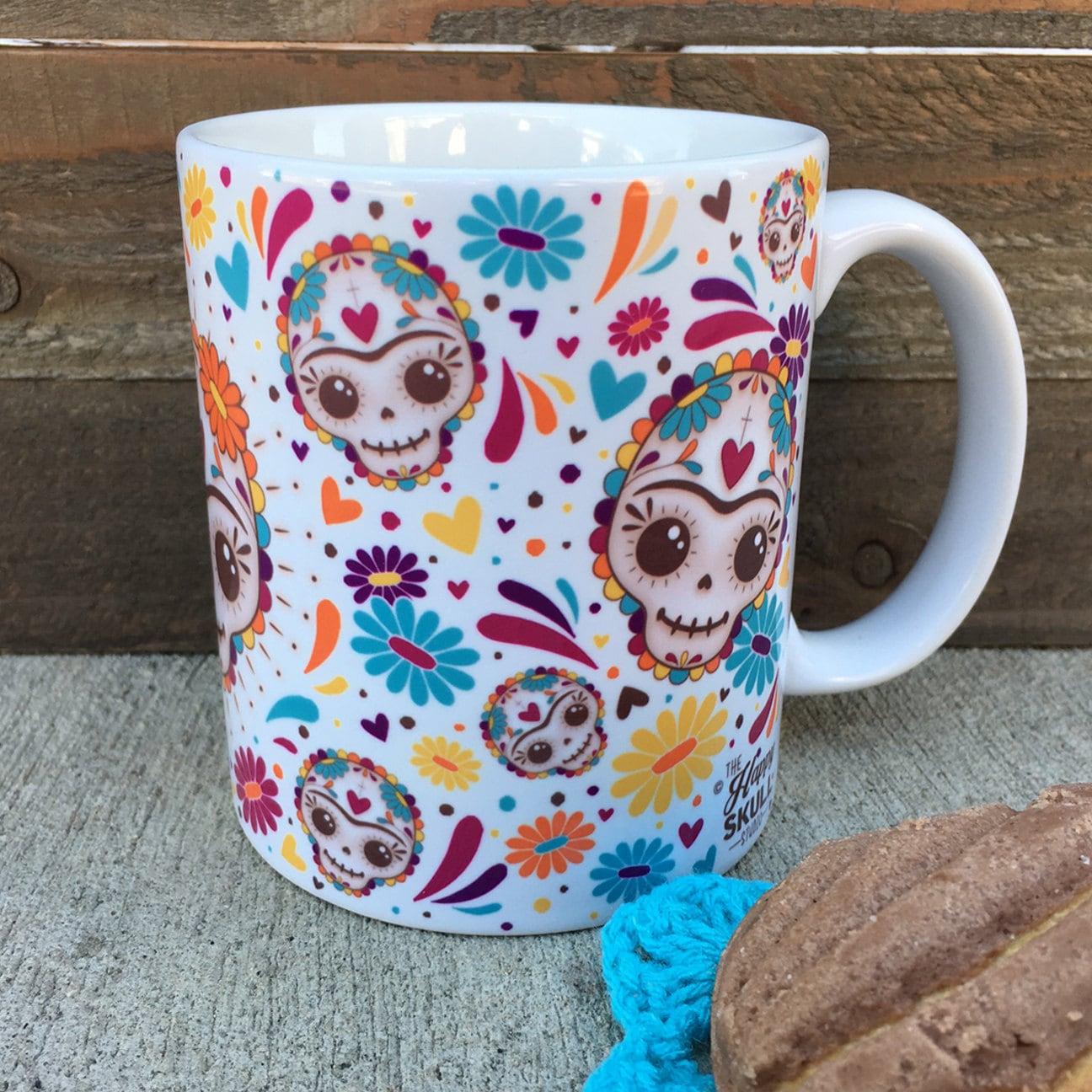 Happy skull frida mug by thehappyskullstudio on etsy for Dulce coffee studio