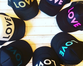 Cute love hat, love, love hat, love trucker hat, trucker hat, gold, gold love, love hat, womens hat, cute girls hat