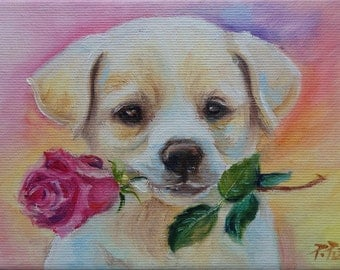 Cute Puppy Painting Etsy