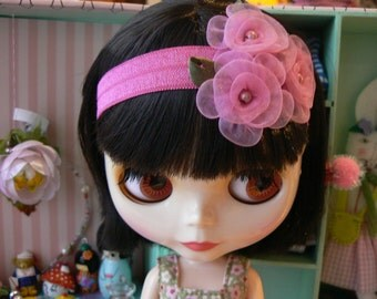 Blythe headband with organza flowers pink hairband handmade in Paris France hair band for doll