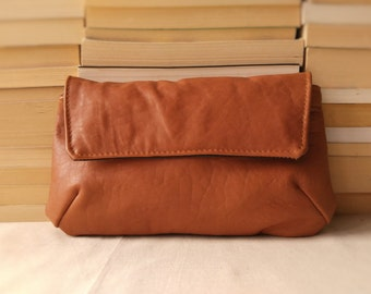 Leather Clutch// Brown Leather Clutch// Repurposed Clutch