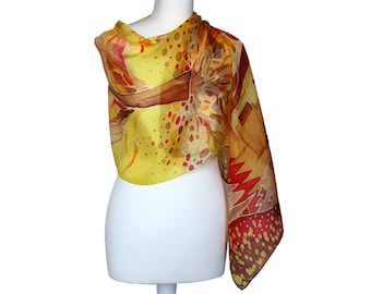 SALE! Silk painted scarf - Womens silk scarf - Light brown scarf - Forest ornaments scarf - Womens gift - Mother day gift - Girlfriend gift