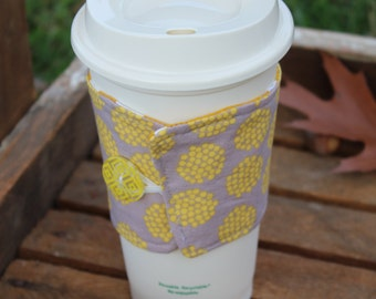 Reusable Coffee Sleeve, Coffee Cozy, Gray and Mustard Yellow Coffee Cozy, Ready to Ship
