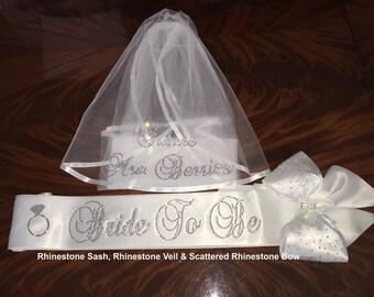 Wedding Veil Personalized In RHINESTONES Optional Rhinestone Bride Sash And Or Bow