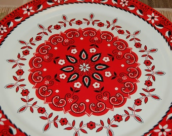 60s XL Round Platter / Metal Serving Tray with Bandana Decor