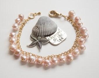 Pink pearl bracelet. Hand crafted designer natural stone bracelet