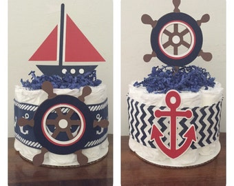 Mini Diaper cakes,Set of 2 mini diaper cakes,Baby shower diaper cake,Nautical diaper cake,Sailboat diaper cake,Nautical theme baby shower