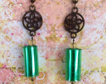 Up-Cycled Green Plastic Bottle Earrings, recycled style