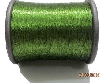 1 Spool Metallic Light Green Embroidery Thread, Hand/Machine Embroidery Thread, Zari Thread India/ zardozi work/Tassels/Laces/ Appliques